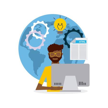 display machine: software developer and programmer vector illustration design Illustration