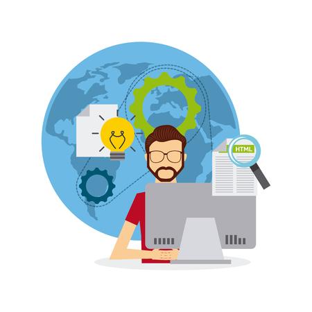 software developer and programmer vector illustration design Illustration