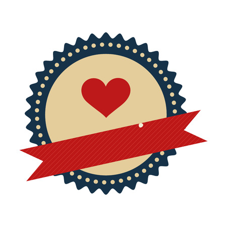 damaged: blue seal stamp with heart inside and ribbon. vector illustration