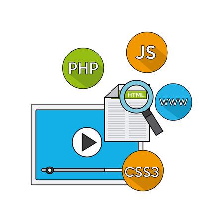 css3: software programming language icons vector illustration design