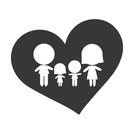 dad daughter: heart shape with family inside. mom dad daughter and son. vector illustration