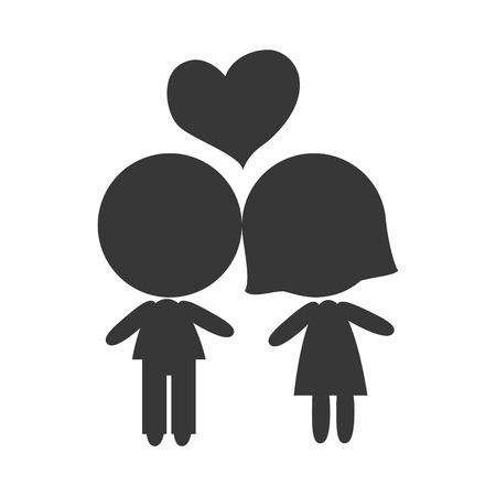 boyfriends: avatar couple boyfriends. love relationship. silhouette. vector illustration