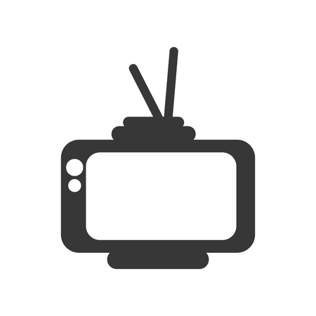 retro television with buttons and antenna silhouette. vintage tv. vector illustration