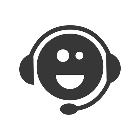 face with headset: face smiling support sign with headset element. vector illustration Illustration