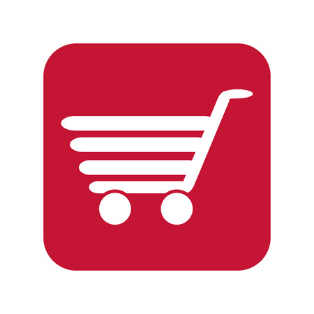 supermarket trolley: shopping cart. supermarket trolley on red background. vector illustration