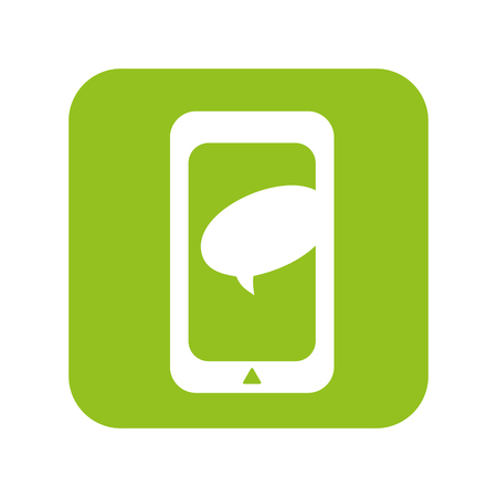 mobile device: smartphone mobile phone with bubble text. communication and technology device. vector illustration