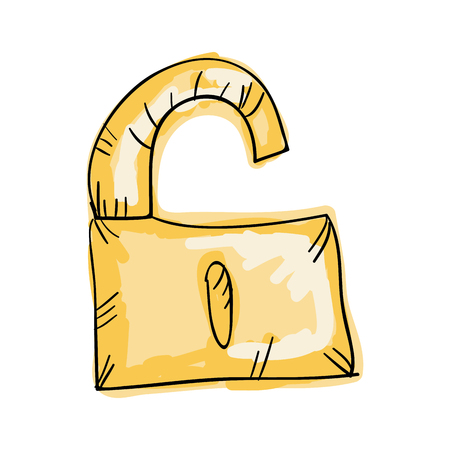 safeguard: lock security safety safeguard object closed. draw design. vector illustration