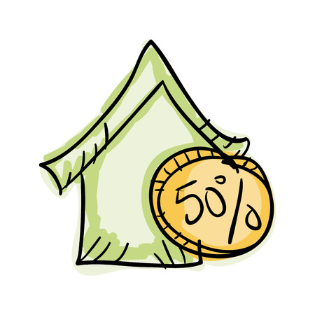 green economy: green house with money coin. economy finance symbol. vector illustration Illustration