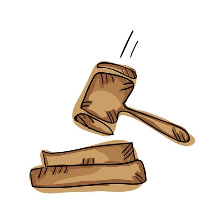 law gavel. justice hammer symbol draw design. vector illustration