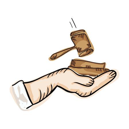 courtroom: hand holding law hammer. draw design. vector illustration