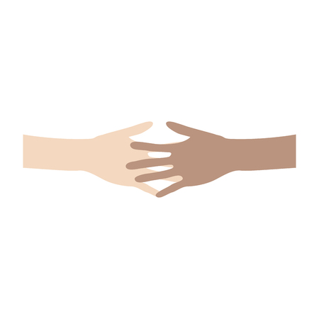 acquaintance: Interracial friendship and cooperation concept. Two people of different ethnicities holding hands. vector illustration