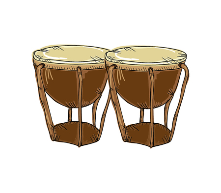 bongos: bongos drum musical instrument. traditional music element. vector illustration