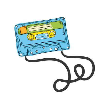 retro cassette vintage stereo tape. draw design. vector illustration