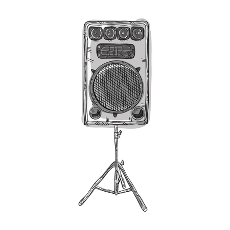 party system: sound  speaker stereo system. draw design. vector illustration