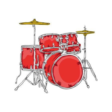 drum set: drum set  musical instrument. traditional music element. vector illustration Illustration
