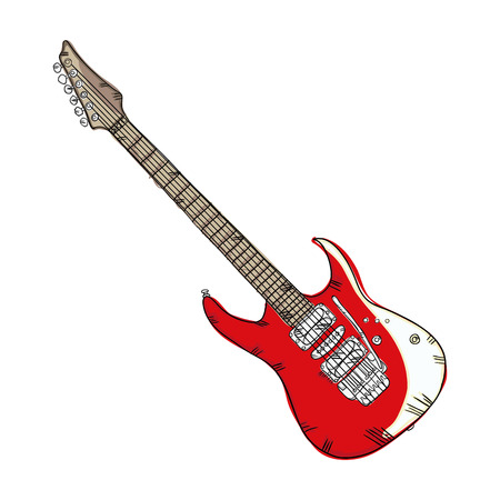 rosewood: electric guitar musical instrument. traditional music element. vector illustration