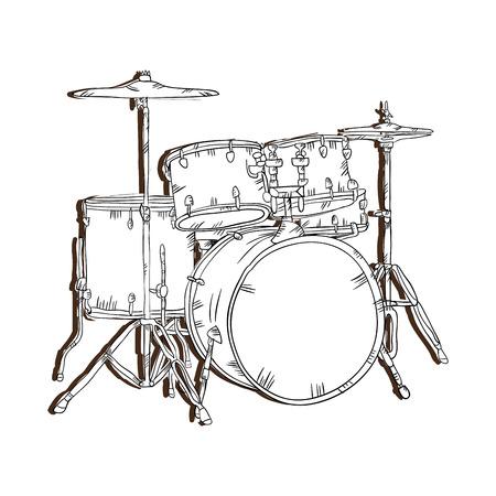 drum set  musical instrument. traditional music element. vector illustration Illustration
