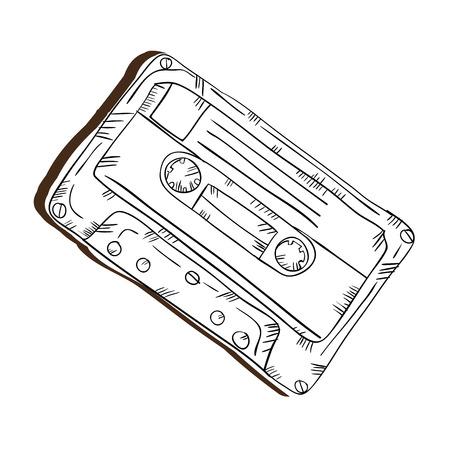 レトロなビンテージ ステレオ カセット。デザインを描画します。ベクトル図