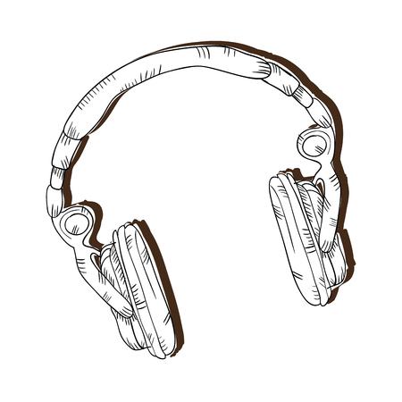 music headphone gadget. audio earphone device. draw design vector illustration Illustration