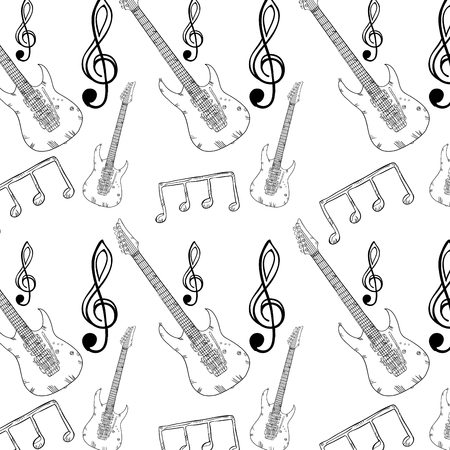 Musical Wallpaper With Music Notes And Electric Guitar Instrument