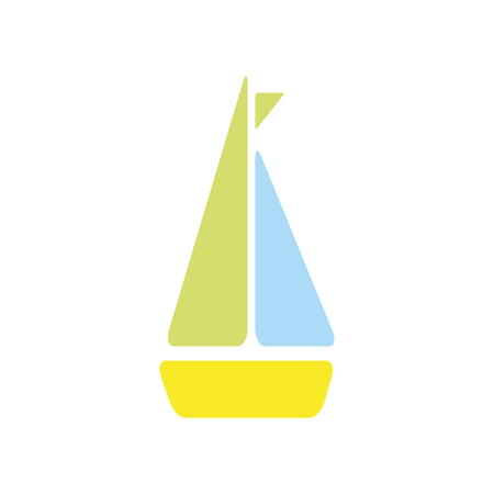 sailboat ship toy. nautical boat with green flag. vector illustration
