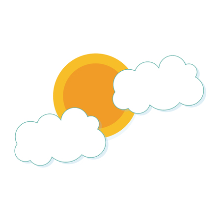 sun and clouds. sunny day weather elements. vector illustration