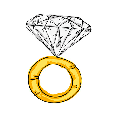 engagement gold ring with big diamond. drawn design. vector illustration Illustration