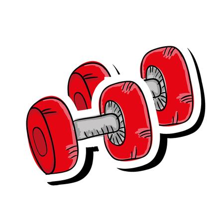 gym equipment: red dumbbell gym equipment. fitness lifestyle. vector illustration
