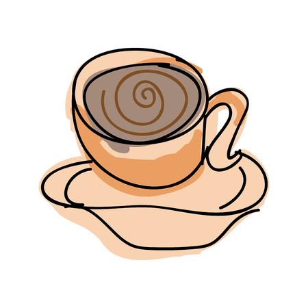 coffee mug: coffee mug beverage. caffeine drink drawn design. vector illustration