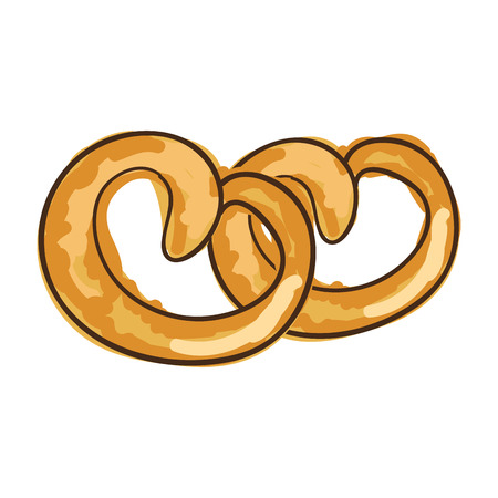 pretzel bakery bread product. drawn design. vector illustration