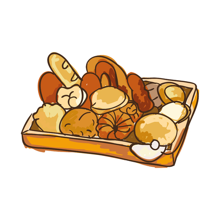 bakery bread product pastries breakfast food. drawn design. vector illustration