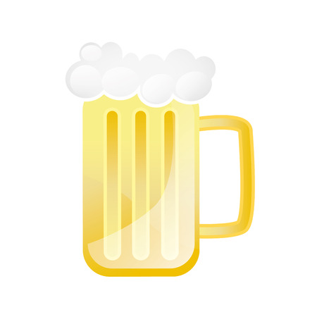 beer mug with foam. beverage alcohol drink. vector illustration