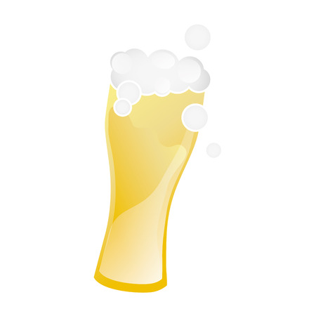 brewed: beer glass with foam. beverage alcohol drink. vector illustration