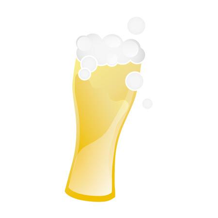 beer glass with foam. beverage alcohol drink. vector illustration