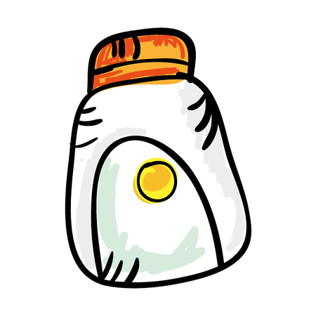 sun cream: sun cream skin care protection. drawn design. vector illustration