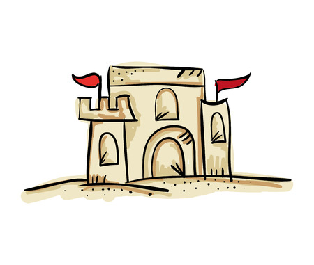 sandcastle: sandcastle with red flags. fun summer activity. drawn design vector illustration