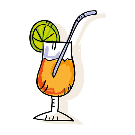 limon: cocktail glass with slice limon and straw. drawn design. vector illustration Illustration