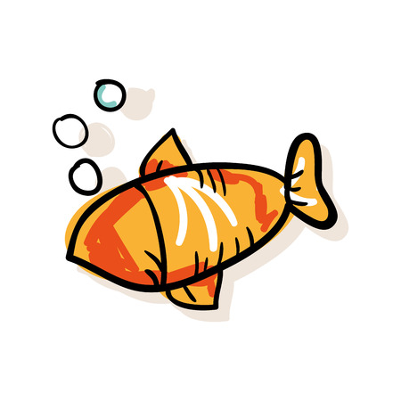 submerged: orange fish and water bubbles. drawn design. vector illustration
