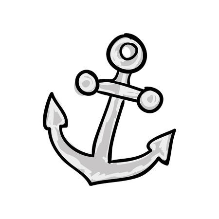 drawn metal: metal anchor marine ocean equipment. drawn design. vector illustration Illustration