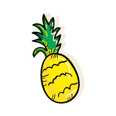 market gardening: yellow and green pineapple fruit food. drawn design. vector illustration Illustration