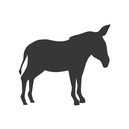 jackass: donkey farm animal. side view silhouette. vector illustration