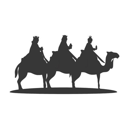 Three Wise Men on camels. christmas religious symbol. vector illustration