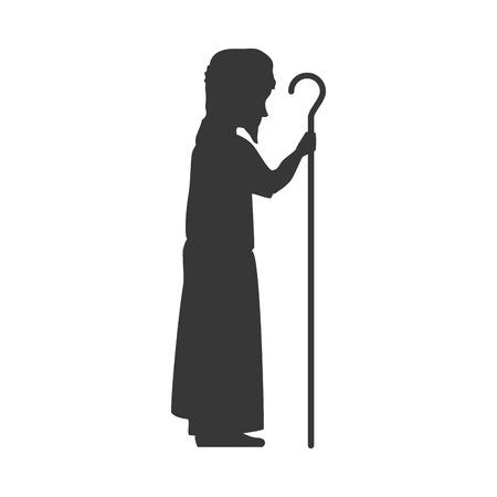 saint joseph silhouette. holy family christmas symbol. vector illustration Ilustracja
