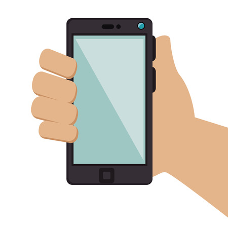 mobile device: hand holding a smartphone mobile phone. communication and technology device. vector illustration Illustration
