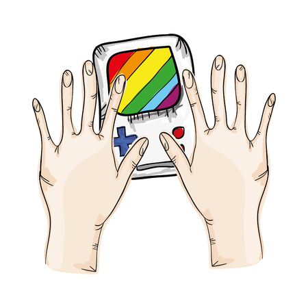 obsession: hands and video game portable with navigation buttons and screen. vector illustration