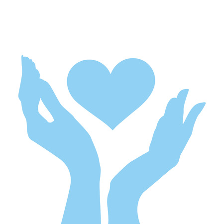 las manos abiertas y la forma del corazón en azul. ilustración vectorial