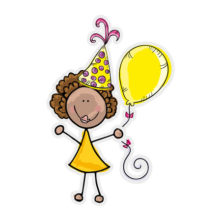 yellow dress: avatar kid girl wearing yellow dress and party hat with balloon. vector illustration Illustration