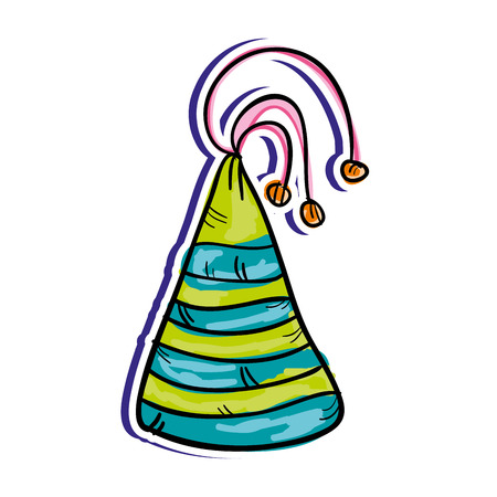 crowd happy people: colorful  party hat decoration. drawn design. vector illustration Illustration