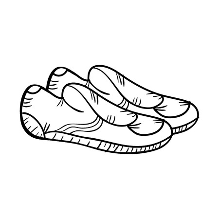 footware: water pair shoes equipment.  drawn design. vector illustration