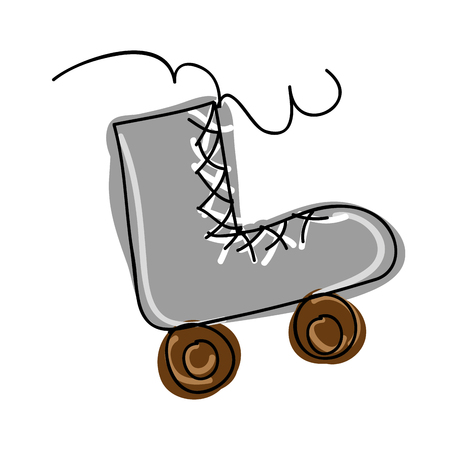 retro roller skates. sport game equipment. vector illustration